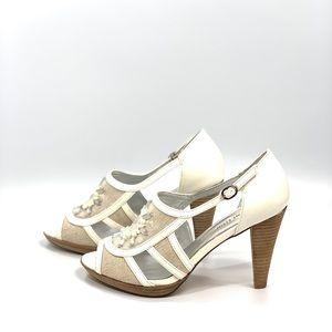 AK Anne Klein Eureka Off White Jeweled Sandals